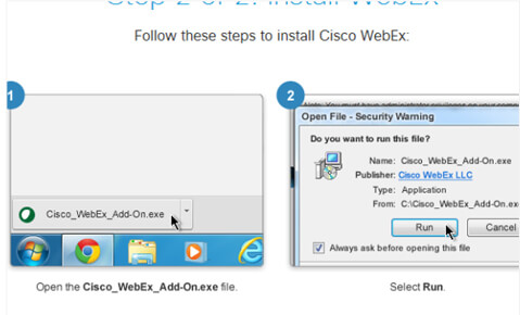 click run to install Webex